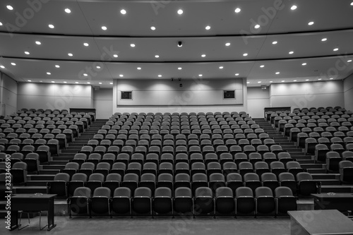 Fototapeta School Closure, Empty lecture hall, black and white obraz