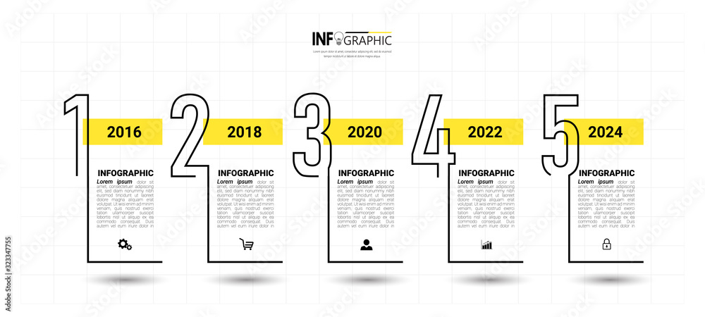 Fototapeta Timeline Infographics design template, linear concept with 5 steps