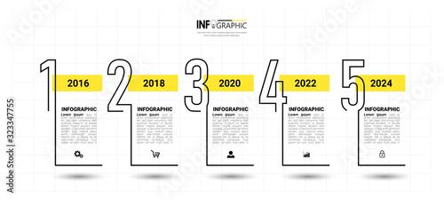 Obraz Timeline Infographics design template, linear concept with 5 steps - fototapety do salonu