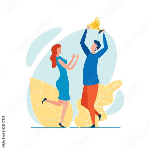 Fényképezés Office Worker, Dressed Casually, Holding Golden Champion Cup Aloft, Triumphing,