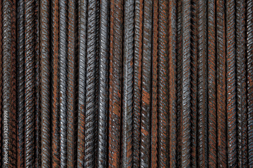 Abstract background of rusty metal iron armature close-up Canvas Print