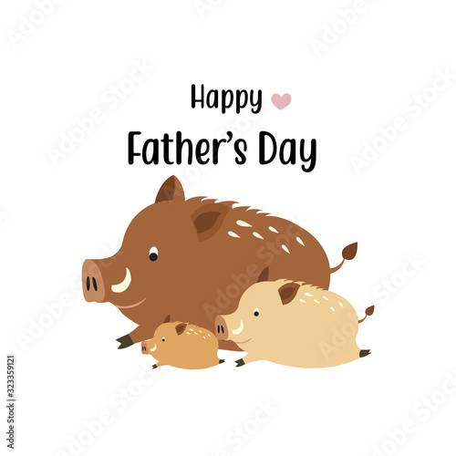 Fotomural Happy father's day card.Cute boar dad and his baby.