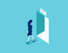 Woman Walking To The Exit  Through An Open Door. Escape Route Concept, Isometric Vector Style