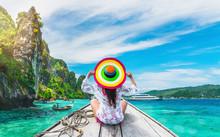 Lifestyle Traveler Woman In Beach Wear Joy Fun On Boat Phi Phi Island Krabi, Attraction Landmark Tourist Travel Phuket Thailand Summer Holiday Vacation Trips, Tourism Beautiful Destinations Place Asia