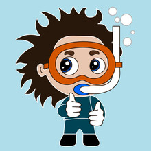 Emoticon With Frogman Or Pearler Swimming Under Water With Bubbles, Pearl Diver Or Fisher Wearing An Underwater Mask Or Glasses And An Air Snorkel Tube, Thumbs Up Simple Colored Emoji