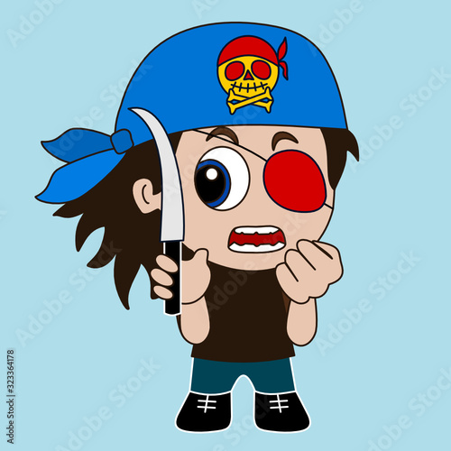emoticon with angry thug wearing a bandanna and an eye patch holding knife and c фототапет