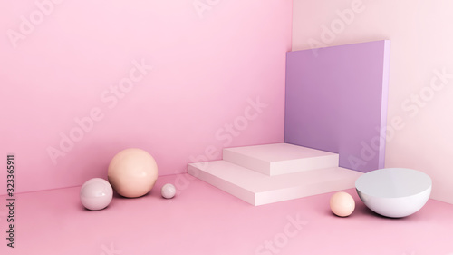 Fototapeta Cosmetic stand backdrop concept on pink background 3d render obraz na płótnie