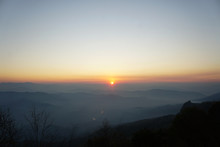 The View Of The Sunrise And The Beautiful Sky In The Morning. View From The Top Of The Mountain In Sri Nan National Park, Thailand. Image Contain Certain Grain Or Noise And Soft Focus.