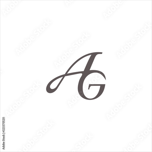 Initial letter ag or ga logo design template Canvas Print