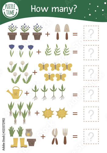 Photo Math game with garden symbols