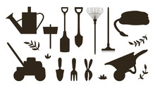 Vector Set With Silhouettes Of...