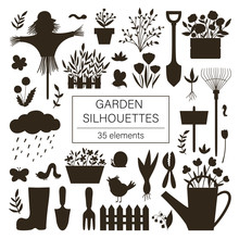 Vector Big Set Of Garden Tools, Flowers, Herbs, Plants Silhouettes. Collection Of Black And White Gardening Equipment. Flat Spring Illustration Isolated On White Background. .