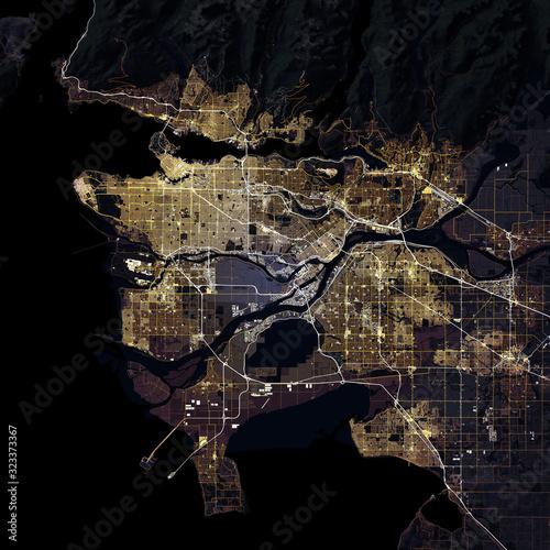 Map Vancouver city. British Columbia