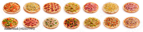 Photo Set of pizza isolated, side view, on white background