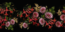 Embroidery. Buds Of Pink Roses...