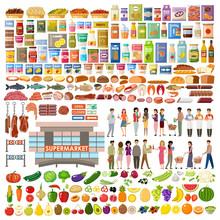 Supermarket. Big Store Set. Ve...