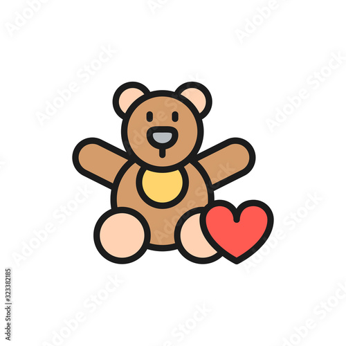 Stampa su Tela Bear toy, donation to children, charity flat color line icon.