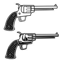 Illustration Of Cowboy Revolver In Engraving Style. Design Element For Logo, Label, Emblem, Sign, Badge. Vector Illustration