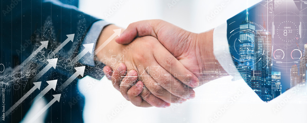 Fototapeta successful agreement business strategy brainstorm businessman handshake togetherwith virtual vision graphic icondouble exposure background with free copy space for your text