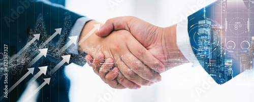 successful agreement business strategy brainstorm businessman handshake togetherwith virtual vision graphic icondouble exposure background with free copy space for your text