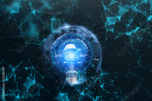 Fotografie, Obraz virtual futuristic creativity ideas concept with light bulb and polygon connecti