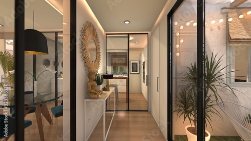 HALL RECIBIDOR CASA BOHO . RENDER 3D Canvas Print