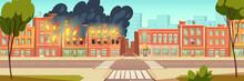 Fire In City House, Vector Car...