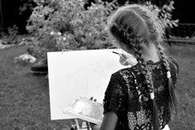 Monochrome Photo. A Girl Paint...
