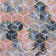 Fototapeta Wzory geometryczne Marble hexagon seamless texture with gold. Abstract background