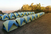 Camping Tents Backpacking In Mountains Landscape Wild Camp At Sri Nan National Park Nan Province In Thailand.