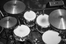 Drums On Stage Before A Concert