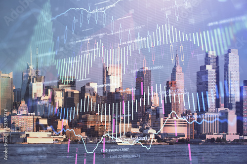 Fototapeta Forex graph on city view with skyscrapers background double exposure. Financial analysis concept. obraz
