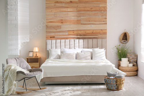Fototapety, obrazy: Stylish room interior with big comfortable bed