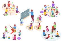 Kindergarten Isometric Vector ...