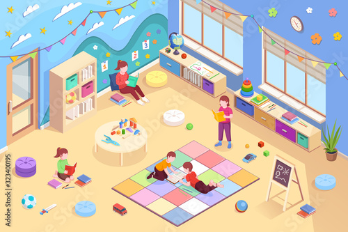 Kindergarten isometric vector interior and children design. Kindergarten kids reading books, girls sitting and boys lying on floor and learning books, preschool education activity, isometry background