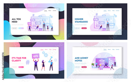 Fototapety, obrazy: Front End Programming, Fintech, Financial Technology Website Landing Page Set. Professional Expert Coding Interface, Safe Bank Transfers and Deposits Web Page Banner. Cartoon Flat Vector Illustration