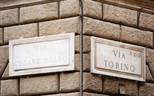 Via Torino Street Sign On Wall...