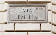 Via Emilia Sign On Wall In Rome