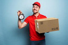 Courier Is Punctual To Deliver The Package. Emotional Expression. Cyan Background