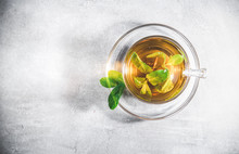 Mint Tea Leaves In A Cup With ...