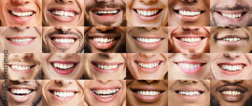 Fototapeta Collage, made of many different adult people smiles