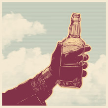 Male Hand Holding Bottle Of Whiskey And Clouds, Retro Engraving Style. Design Element. Vector Illustration