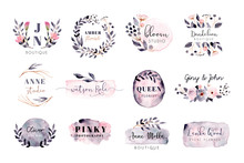 Premade Logo With Grey Pink Brush Stroke And Floral Watercolor