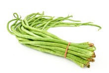 Fresh Yard Long Beans Or Chinese Long Beans (Vigna Unguiculata Subsp. Sesquipedalis) Isolated On A White Background.Vegetables