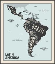 Map Latin America. Poster Map ...