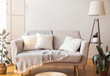 Cozy home interior sofa and cushions and floor lamp