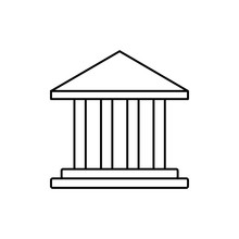 Public Bank Building, University Or Museum, Classic Greek Architecture Thin Line Icon. Linear Vector Illustration. Pictogram Isolated On White Background. Eps 10.