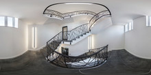 White Stairs  Emergency And Evacuation Exit Spiral Stair In Up Ladder. Full Seamless Spherical Hdri Panorama 360 Degrees In Interior Room In Modern Apartments Or  Office In Equirectangular Projection