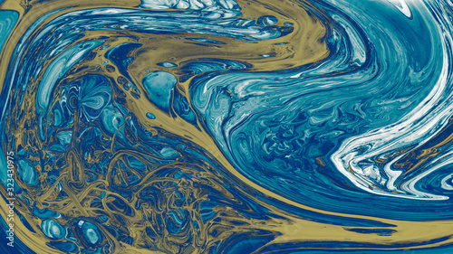 Photo Blue Acrylic Pour Color Liquid marble abstract surfaces Design.