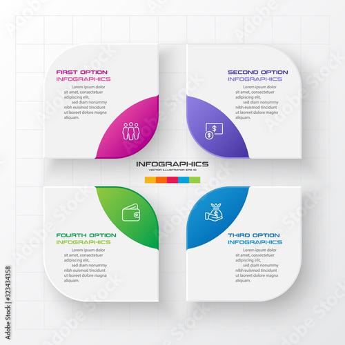 Business infographics template 4 steps,Element for design invitations,Vector illustration Tapéta, Fotótapéta